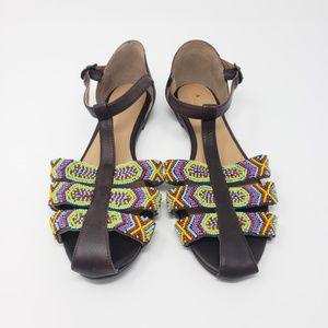 New Anthropologie Beaded Boho T Strap Sandals